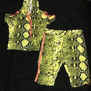 Pants - Snakeskin 2 Piece Shorts Set.